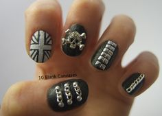 Skulls and Studs over Nails Inc Leather Effect...