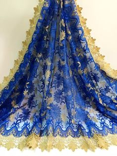 (5yards/lot)!Latest guipure lace 2015 nigerian lace fabrics Royal blue,french tulle guipure cord lace material with stones (jy