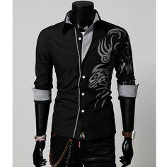 Slim Long Sleeve Dress Shirt w/ Dragon Tattoo Print