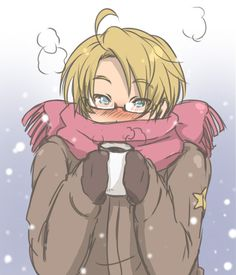 Hetalia America, all snuggled up and keeping warm for winter.