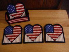 Patriotic Hearts Coaster Set Plastic Canvas by ShanaysCreation, $12.50