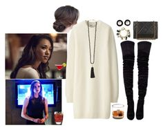 """""""Drinks w/ Iris West & Caitlin Snow"""" by theflash24 ❤ liked on Polyvore featuring Christian Louboutin, Uniqlo, Chanel, Rosantica and Luigi Bormioli"""