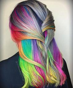 ☁️Cloudy Sky Rainbow Vibes ☁️ #neonhair