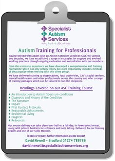 Having worked with adults with an Autistic Spectrum Condition (ASC) for over nearly 20 years, we have established a range of strategies of support and evolved effective working practices through ongoing evaluation and consultation with our members.  From this extensive experience we have developed a comprehensive ASC Training Programme our contact details are listed on our pin.