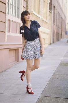 Ashley of Fancy Fine modeling a Stop the Clock vintage blouse