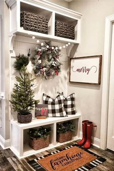 If you are looking for Simple Living Room Christmas Decor Ideas, You come to the right place. Here are the Simple Living Room Christmas Decor Id. Christmas Entryway, Farmhouse Christmas Decor, Christmas Home, Farmhouse Decor, Christmas Ideas, Farmhouse Small, Modern Farmhouse, Modern Christmas, Christmas Living Rooms