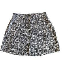 MED Floral Mini Skirt Black and White Mini Flower Print Short Spring... (€36) ❤ liked on Polyvore featuring skirts, bottoms, shorts and shorts/skirts