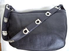 Vintage Ferragamo 21/3840 Gancio Black Leather Silver Logo Hobo Bag Purse Listing in the Shoulder Bags,Bags & Purses,Womens Accessories & Bags,Clothes, Shoes, Accessories Category on eBid Canada