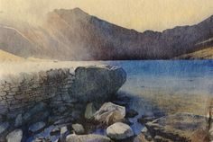 Llyn Idwal, an original watercolour painting by Rob Piercy - color inspiration
