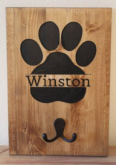 "Your place to buy and sell all things handmade - Personalized Dog Pet Leash Holder Wood Handmade ""Personalized Dog Pet Leash Holder Wood Handmade - Dog Crafts, Animal Crafts, Wooden Crafts, Crafts To Sell, Diy Signs, Wood Signs, Dog Leash Holder, Animal Projects, Diy Wood Projects"