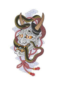 japanese tattoos for men Japanese Hannya Mask, Japanese Mask Tattoo, Japanese Tattoos For Men, Japanese Drawings, Traditional Japanese Tattoos, Japanese Tattoo Designs, Japanese Sleeve Tattoos, Japanese Art, Hannya Maske Tattoo