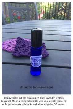 I created this blend as a mood booster and it has become my favorite fragrance. The recipe in the picture is for a 10-ml perfume (either with carrier oil or vodka, which needs to age for at least 2 weeks). For an everyday oil to rub on when you need a lift, combine 6 drops geranium, 6 drops bergamot, 4 drops lavender, and your favorite carrier oil (I use sweet almond) in a 2-oz dropper bottle.