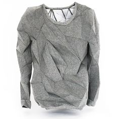 Geometric Fashion - sculptural 3D sweatshirt with faceted surface structure; innovative fashion design // The T-shirt Issue