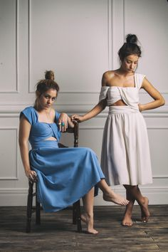 """Fira"" dress in sky blu & cream white. Karavan"