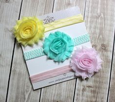 Baby headband set -  Yellow, Pink, Aqua - Newborn Headbands - Baby Hair Bows, Chevron Headband, Baby Flower Headbands