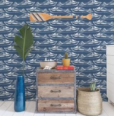 Boating Designer Wallpaper by Aimée Wilder and Ivana Helsinki. This beautiful wallpaper, a collaboration with Finnish designer Ivana Helsinki, is the perfect dé Geometric Wallpaper Design, Modern Wallpaper Designs, Graphic Wallpaper, Textured Wallpaper, Designer Wallpaper, Beautiful Wallpaper, Boat Wallpaper, Cover Wallpaper, Kids Room Wallpaper