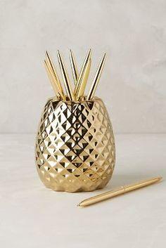Anthropologie Pineapple Pencil Holder #golddecor #anthrofave
