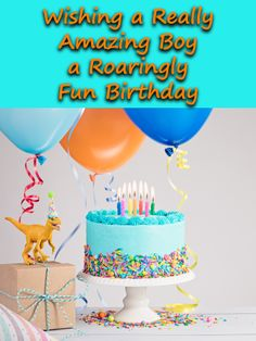 This dinosaur-themed birthday card for a special little boy really takes the cake! That's probably because of the colorful, candle-topped cake on it, along with the presents and balloons. It's the perfect greeting to send when you want to wish him a roaringly fun birthday, whether you're there with him to join in the party or letting him know how amazing he is from far away. Birthday Cards For Boys, Birthday Greeting Cards, Birthday Fun, Birthday Greetings, Birthday Cake, Birthday Reminder, Birthday Calendar, Take The Cake, Kids Cards
