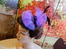 Fascinator schwarz lila Damenhut Minihat Burlesque
