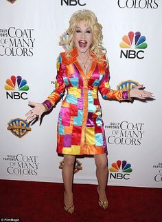 She's a doll! Dolly Parton made a very colorful entrance as she arrived for the Hollywood premiere of A Coat Of Many Colors, a movie she produced for NBC Coat Of Many Colors, Dolly Parton, Satin Dresses, Harajuku, Breast, Hollywood, Fashion Outfits, Stars, Celebrities