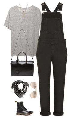 """""""Untitled #1884"""" by humlan17 ❤ liked on Polyvore featuring T By Alexander Wang, Topshop, LowLuv, Yves Saint Laurent, Dr. Martens, H&M, Ray-Ban, Boots, saintlaurent and dungaree"""