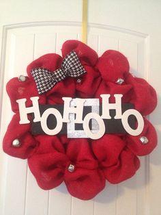 Christmas+Burlap+Wreath+Ho+Ho+Ho+by+LilyandTuck+on+Etsy,+$60.00