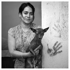 Oaxacan Artist Gabriela León with her Xolo