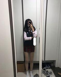 "Instagram의 강다현 (Kang dahyeon)님: ""인생 노잼 시기"" Girl Fashion, Stockings, Selfie, Goals, Outfits, Phone, Style, Women's Work Fashion, Socks"
