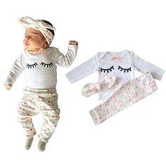 Yilaku Eyelash Cute Newborn Baby Girl Clothes Top + Pants + Headband 3pcs Toddler Girls Infant Clothing Sets (0-3 months, White)