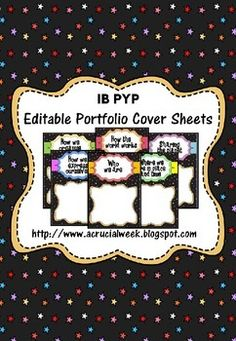 Editable IB PYP portfolio cover sheets that could be used for an A4 portfolio or for a digital one!