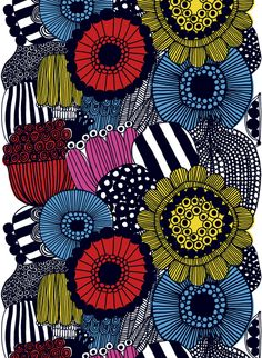 Introducing Marimekko's fall 2009 fabric collection. Some fresh new designs highlight this collection from Marimekko, which also includes some of your favorite patterns reinvented with… Fabric Patterns, Print Patterns, Floral Patterns, Mandala Bleu, Marimekko Fabric, Design Textile, Fabric Design, Color Scale, Canvas Art