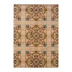 Woven rug with a scrolling medallion motif.    Product: Rug Construction Material: 100% Polypropylene Color: Gold and beige  Features: Machine-woven   Cleaning and Care: Vacuum regularly and spot clean with a mild detergent