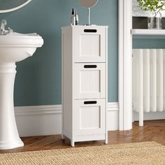 Features: Tongue and groove effect panelling Product Type: Bathroom Cabinet Primary Material: Manufactured wood Mount Type: Free-Standing Shelves Inc Under Sink Storage Unit, Toilet Storage, Locker Storage, Free Standing Cabinets, Free Standing Shelves, Mirror Cabinets, Bathroom Cabinets, Cabinet Shelving, Tall Cabinet Storage