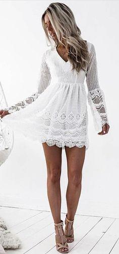 #fall #outfits White Lace Dress + Mocha Pumps