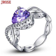 a7013e282 JROSE Wholesale Beautiful Women Heart Created Tourmaline & White CZ White  Gold Color Ring Size 6