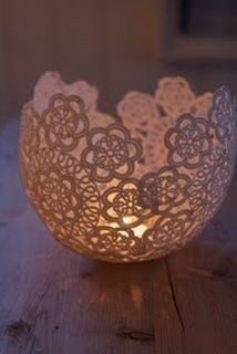 Doily Candle Holder / favour bowl - This simple project is made by soaking cloth or paper doilies in sugar starch or pva glue and water mix and then forming it around a balloon. Once the starch or glue mixture dries, usually overnight at least, pop the balloon and you have a romantic tea light holder that can be used as part of your tablescape.
