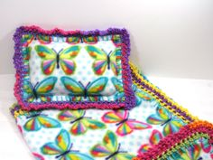Crochet Edge Fleece Blanket, Multi Colored Butterfly with Pillow Baby Doll Blanket, Handmade, 18x18, #18-46 by MonaSewingTreasures on Etsy
