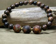 Mens Beaded Bracelet Stretch Bracelet Bracelet by StoneWearDesigns