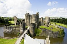 Caerphilly Castle In Wales - love the moat