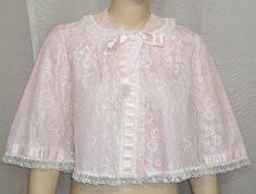 Vintage Odette Barsa Bed Jacket Lace Overlay Pink Medium by ShonnasVintage, $44.99