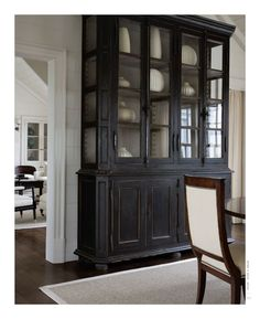 would look great in dining area at end of long living rm Love this.refinished a similar antique hutch/china cabinet a decade ago but in dark hunter green and it turned out great. Furniture, House, Interior, Painted Furniture, Cheap Home Decor, New Homes, Distressed Furniture, Furniture Inspiration, Black Furniture