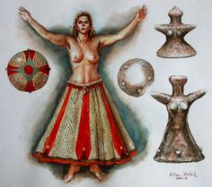 Lengyel culture -  The figurine of a woman in a skirt is decorated with ceramic lugs. The statuette could also be wearing a complete dress, not only a skirt on a bare body. The art have probably been connected with mythology and religion. The early people used to decorate their clothing and probably even the entrance doors – we can say that from the ethnographical materials. The figurines were coloured, but the colours are not always preserved.