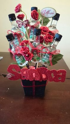 Red Peppermint Schnapps Mother's Day Roses Alcohol Bouquet Shots