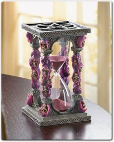 Pink and purple Hourglass decorated with skulls, ooooh spooky Hour Glass Tattoo Design, Hourglass Sand Timer, Gothic Fantasy Art, Sand Timers, Gothic Furniture, Pink Skull, Witch Decor, Vintage Bottles, Skull And Bones