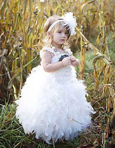 Feather flower girl dress