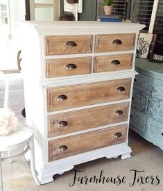 Tallboy Dresser Makeover Turn a traditional Tallboy dresser into a statement piece with Dixie Belle Chalk Paint and bleached wood. Furniture Fix, Bedroom Furniture Makeover, Furniture Layout, Furniture Arrangement, Antique Furniture, Furniture Ideas, Furniture Design, Outdoor Furniture, White Wash Dresser