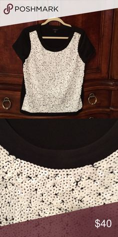 Shirt Black polyester top with white sequin embellishments on front.  Short sleeves Ann Taylor Tops