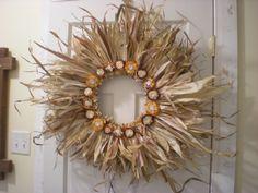 Corn husk wreath with Indian Corn around the center