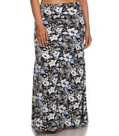 Plus Size Print Knit Maxi Long Causal Summer Party Skirt