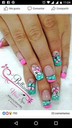 Francés, animales Diy Easter Nails, Nails 2018, Acrylic Nails, Easter Nail Designs, Holiday Nail Designs, Holiday Nails, Nail Art Designs, Spring Nail Art, Spring Nails
